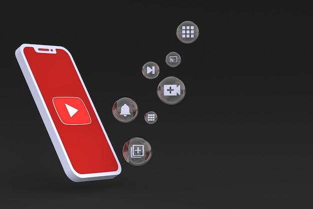 Icono de youtube en la pantalla del teléfono inteligente o teléfono móvil 3d render sobre fondo negro