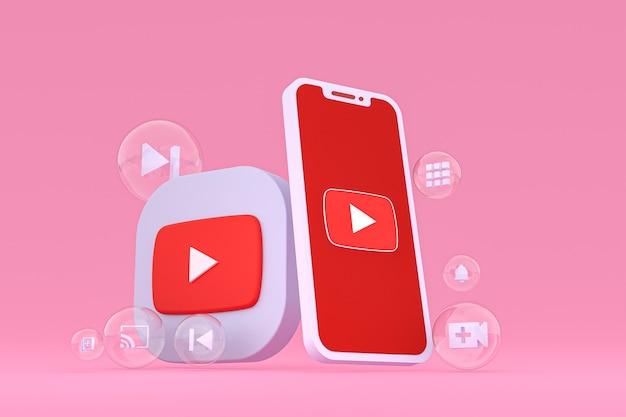 Icono de youtube en la pantalla del teléfono inteligente o teléfono móvil 3d render sobre fondo rosa
