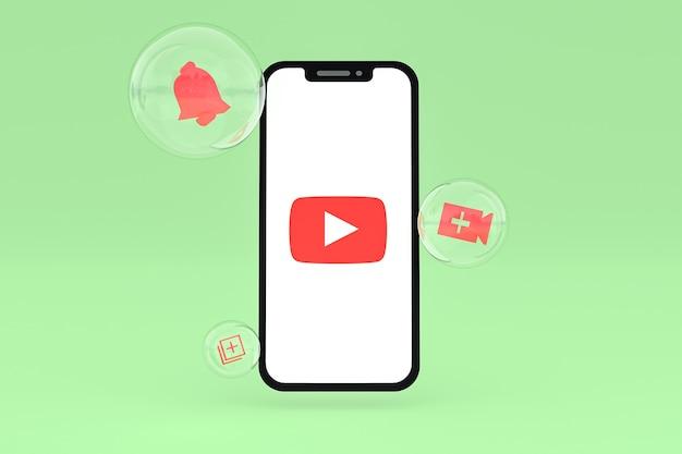 Icono de youtube en la pantalla del teléfono inteligente o teléfono móvil 3d render sobre fondo verde