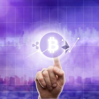 Iconos bitcoin ondulación, ethereum en un ultra violeta.