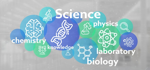 Iconos de ciencia y titulo