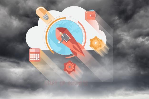 Iconos coloridos con fondo nuboso