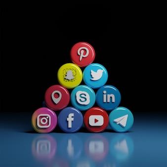 Iconos de comunicación y redes sociales en 3d en un diseño jerárquico prefabricado en la parte frontal