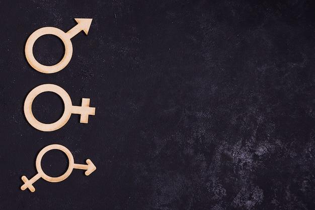 Iconos de concepto de igualdad de género con espacio de copia