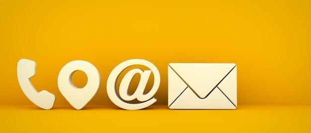 Iconos de contacto empresarial sobre fondo amarillo representación 3d