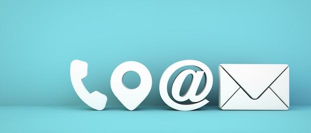 Iconos de contacto empresarial sobre fondo azul representación 3d