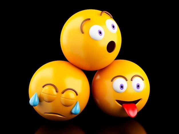 Iconos de emojis 3d con expresiones faciales.