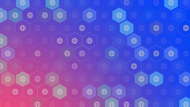Iconos globales sobre fondo de red simple. estilo dinámico elegante y de lujo para plantilla empresarial, corporativa y social, ilustración 3d