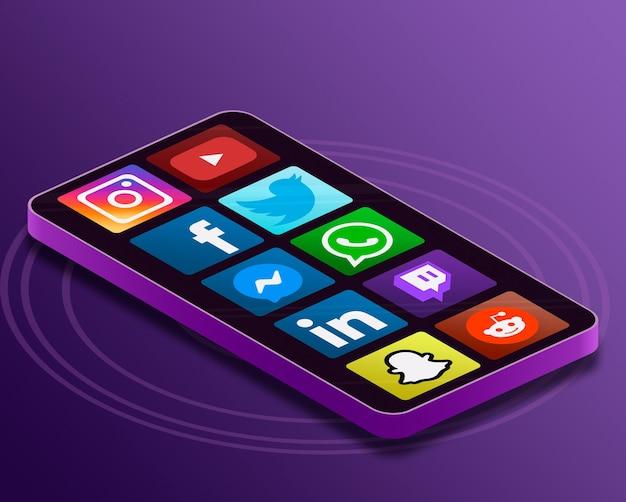 Iconos del logotipo de redes sociales en la pantalla del teléfono 3d