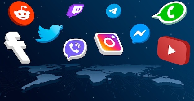 Iconos del logotipo de redes sociales en todos los continentes del mapa mundial 3d