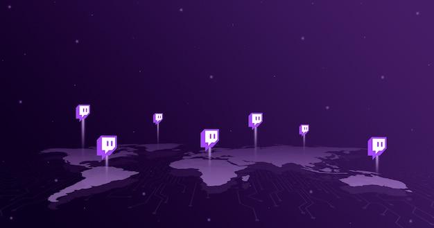 Iconos del logotipo de twitch en todos los continentes del mapa mundial 3d Foto Premium