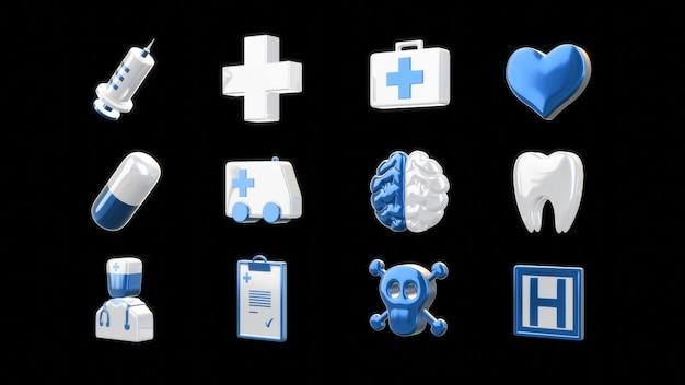 Iconos médicos - ilustración 3d