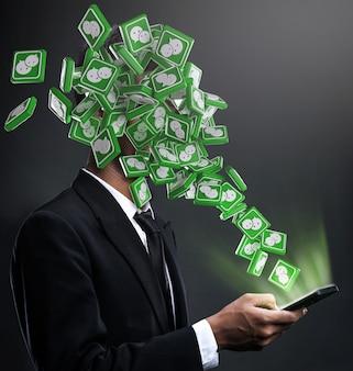 Iconos de wechat apareciendo en la cara de un hombre