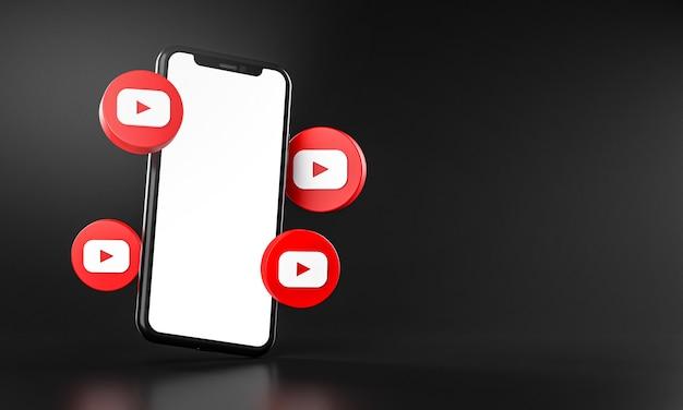 Iconos de youtube alrededor de la aplicación de teléfono inteligente representación 3d