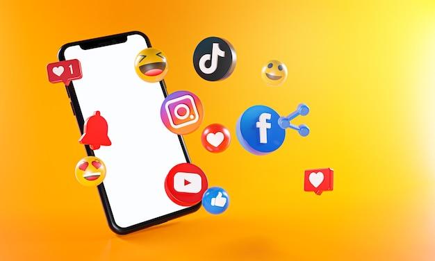 Los iconos de youtube de tiktok de facebook de instagram de redes sociales más populares.
