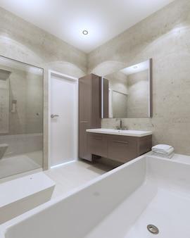 Idea de baño minimalista en casa particular.