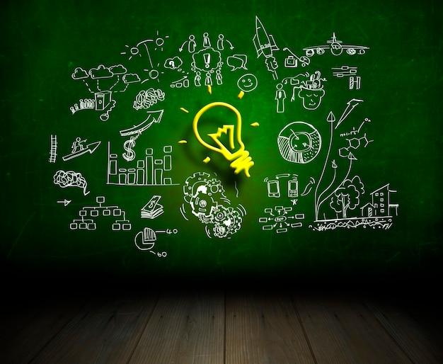 Idea bombilla doodle pensamiento creativo sobre el éxito de la educación