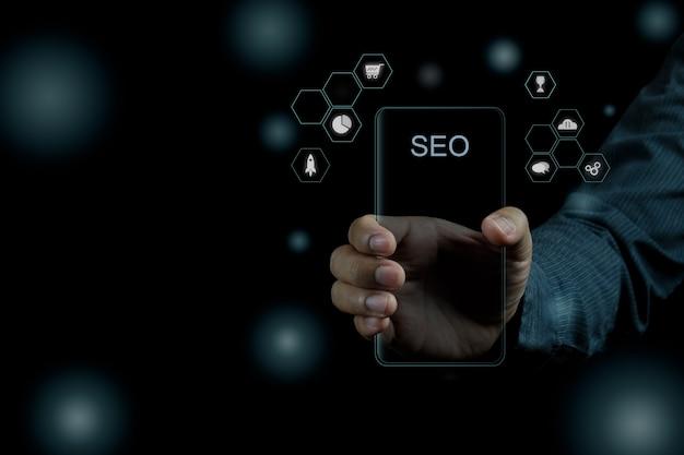 Idea de concepto de foto de seo de marketing digital con contenido infográfico especial