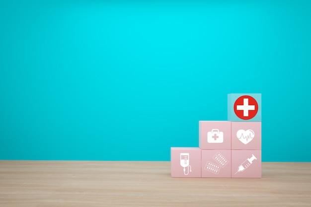 Idea de concepto mínima sobre el seguro médico y de salud, organizando el apilamiento de color de bloque con el icono de atención médica sobre fondo azul.