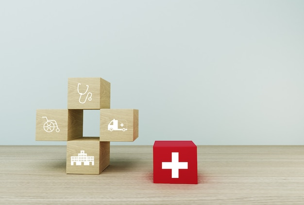 Idea de concepto mínima sobre seguro médico y de salud, organizando el apilamiento de color de bloque con el icono de atención médica