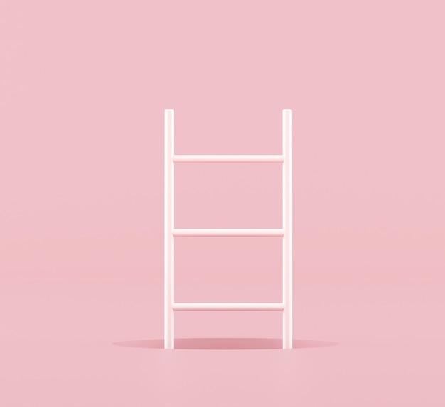 Idea de concepto mínimo de escalera blanca y bola azul flotante sobre fondo rosa. representación 3d