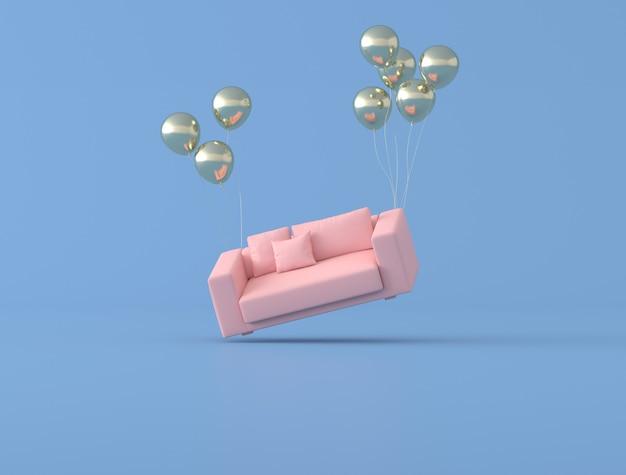 La idea conceptual abstracta del sofá rosado está flotando por globos dorados sobre fondo azul, estilo minimalista. renderizado 3d