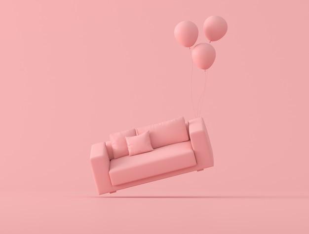 La idea conceptual abstracta del sofá rosado está flotando por globos sobre fondo rosa, estilo minimalista. renderizado 3d