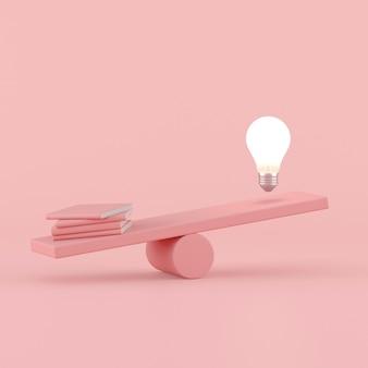 Idea conceptual mínima de bombilla flotante opuesta con libros de color rosa en balancín, concepto de conocimiento. representación 3d