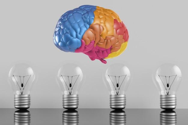 Idea creativa con cerebro colorido de renderizado 3d y bombilla de idea