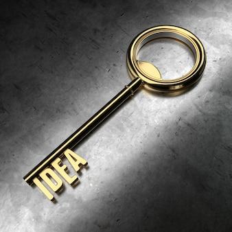 Idea - llave de oro sobre fondo negro metálico. representación 3d