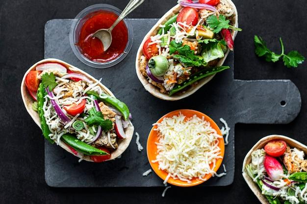 Idea de receta casera de botes de tacos tex mex