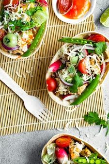 Idea de receta casera de comida tex mex taco boats