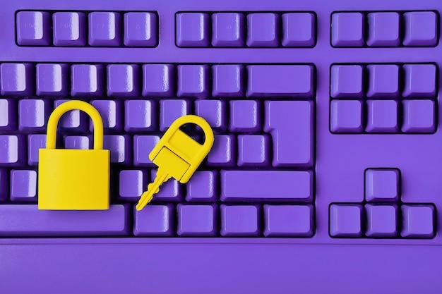 Idea de seguridad de datos e información cibernética. computadora, concepto de seguridad de la información
