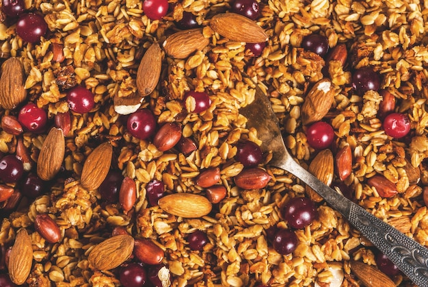 Ideas para un desayuno de invierno, otoño. acción de gracias granola casera de miel fresca cocida con nueces, cacahuetes, avellanas y arándanos. en mesa de hormigón gris, vista superior