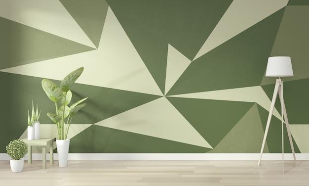 Ideas de sala de estar verde arte geométrico de la pared pintura a todo color en piso de madera. renderizado 3d