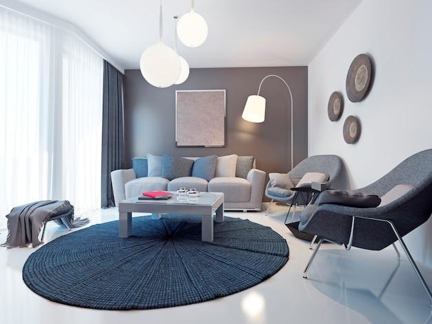 Ideas de tendencias de salas de estar contemporáneas y luminosas para un salón formal de tamaño mediano con paredes blancas y marrones.