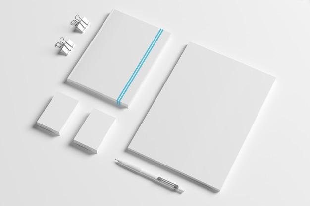 Identidad en blanco papelería conjunto aislado en blanco.