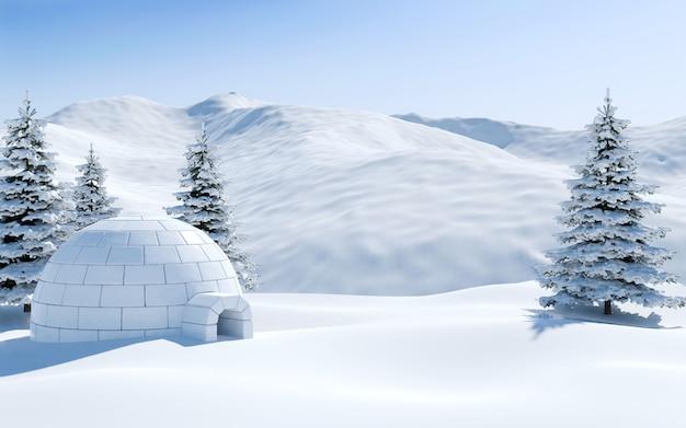 Iglú y bosque de pinos en un campo de nieve con montañas nevadas, escena del paisaje ártico, renderizado 3d