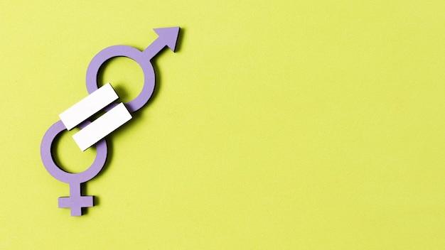 La igualdad entre el hombre y la mujer símbolos de género copia espacio