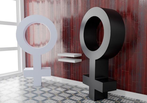 Igualdad entre mujeres blancas y negras. símbolo de las mujeres en blanco y negro