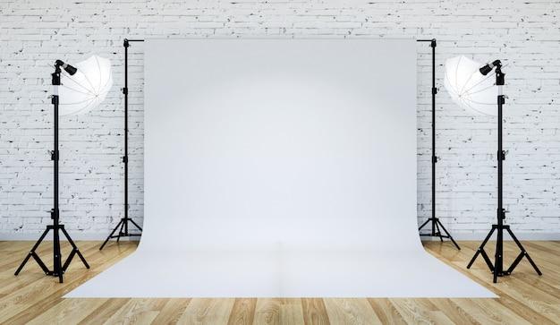 Iluminación de estudio fotográfico configurada con fondo blanco, renderizado 3d