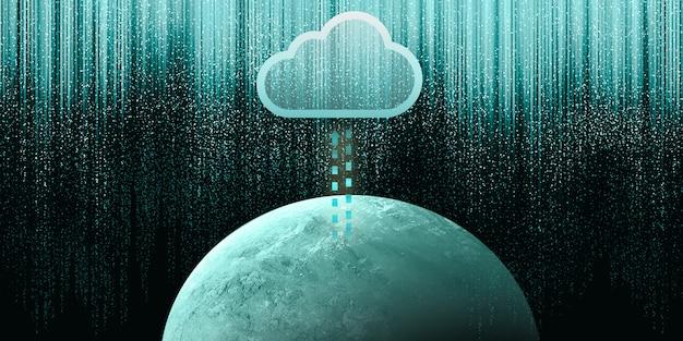Ilustración 2d de computación en la nube, almacenamiento en la nube de red inalámbrica, concepto de internet de tecnología de computación en la nube