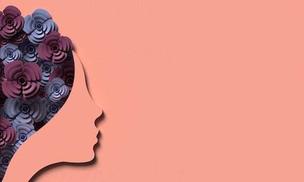 Ilustración 3d. 8 de marzo con rostro de mujer papercut en rosa. concepto de día de la mujer.