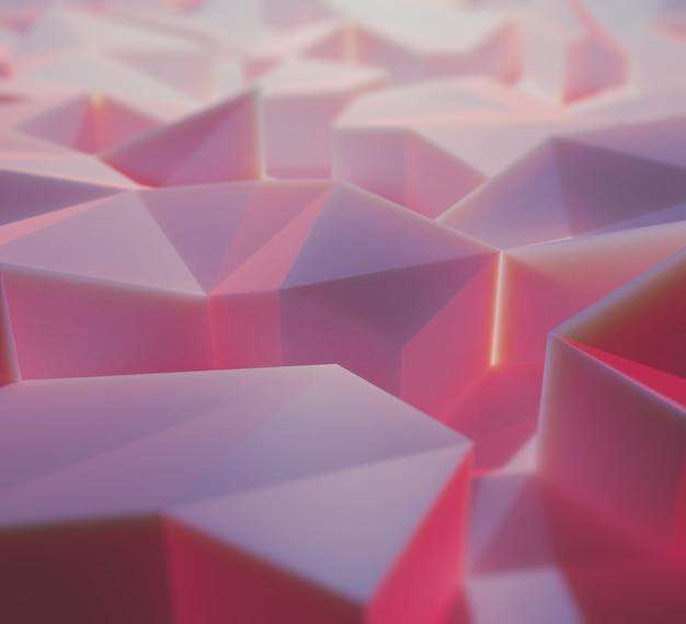 Ilustración 3d abstracto de protuberancias cuadrangulares de color rosa y lila iluminados en perspectiva borrosa