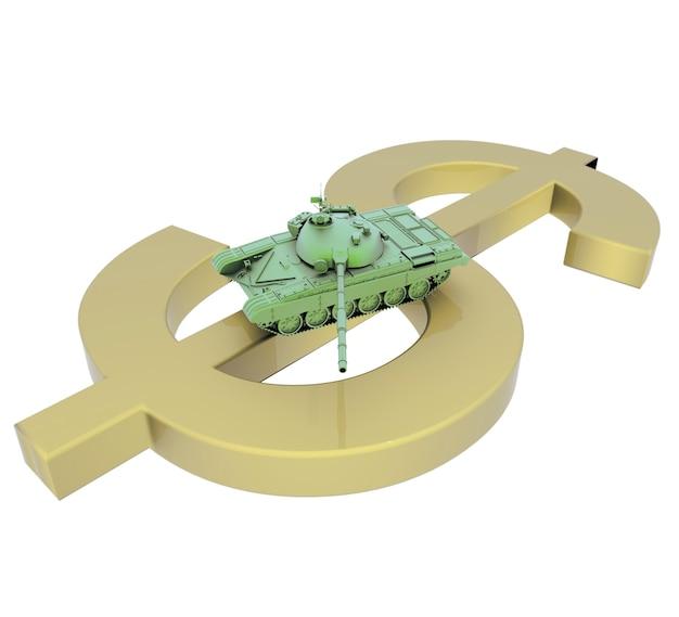Ilustración 3d abstracto de tanque de guerra verde brillante con el objetivo de cañón sobre el signo de dólar dorado aislado en w