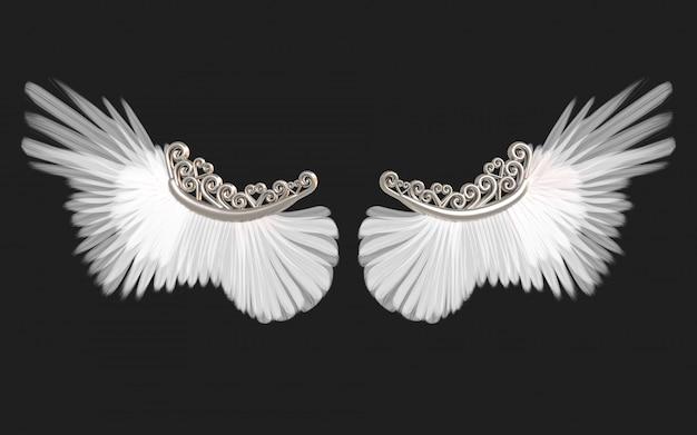 Ilustración 3d alas de ángel, plumaje de ala blanca aislado en negro con trazado de recorte.