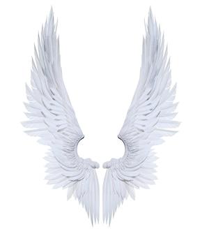 Ilustración 3d alas de ángel, plumaje de ala blanca aislado sobre fondo blanco