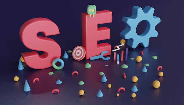 Ilustración 3d del análisis seo para la optimización de motores de búsqueda de sitios web y banners