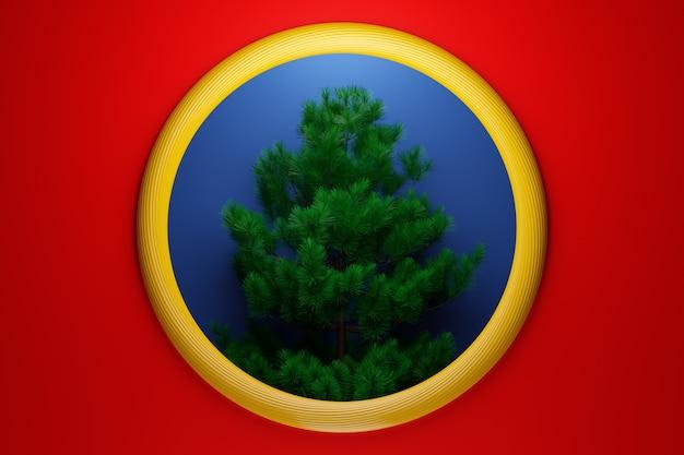 Ilustración 3d árbol de navidad real. maqueta de tarjeta de felicitación con texto, cartel navideño o invitaciones navideñas. atributos de navidad y año nuevo.