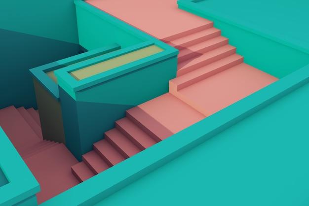 Ilustración 3d de arquitectura de escalera de poca altura